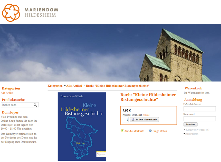 Screenshot Online-Shop des Dommuseums Hildesheim