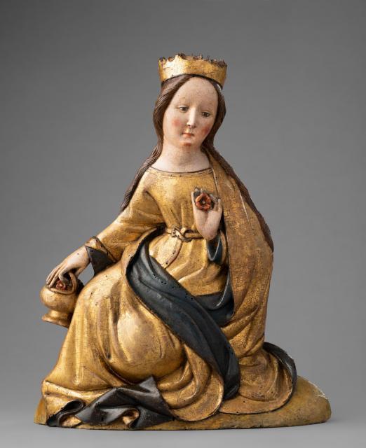Maria, Figur aus dem Retabel des ehemaligen Trinitatisspitals Hildesheim, 1. Drittel 15. Jh.; © Dommuseum Hildesheim, Foto: Stephan Kube